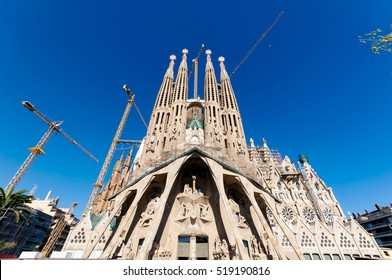Barcelona, Spain -October 10, 2011: La Sagrada Familia, the cathedral designed by Antoni Gaudi, which is being build since 19 March 1882 and still is under construction