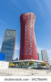 Barcelona, Spain - October 10, 2015:  Hotel Porta Fira, next to the tower Realia Barcelona, in Barcelona, Catalonia, Spain, is a modern red skyscraper hotel designed by Japanese architect Toyo Ito.