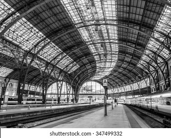 """Barcelona, Spain - October 10, 2015. Empty platforms in the Estacion de Francia in Barcelona with a train waiting on the right side. """"France Station"""" is a historic station in the city of Barcelona"""