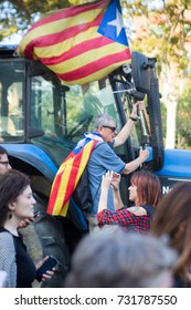 BARCELONA, SPAIN – OCTOBER 10, 2017: People with flags during the speech of Catalan prime minister Carlos Puigdemont in Barcelona, who declared independence and directly suspended it.
