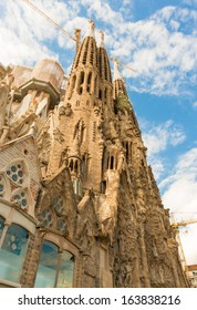 BARCELONA SPAIN - OCTOBER 10: La Sagrada Familia - the cathedral designed by Gaudi, which is being build since 19 March 1882 and is still under construction as of October 10, 2013 in Barcelona, Spain.