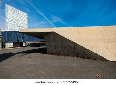 Barcelona, Spain - October 11, 2018:  The Forum of Cultures building that appears in this photo was one of the first to be built in Forum area and now it is a science museum