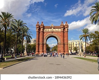 Barcelona, Spain - October 12, 2014: People gathering and taking pictures in front of the Arco de Triunfo Barcelona