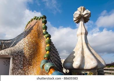 "BARCELONA, SPAIN - OCTOBER 13, Famous ""Manzana de la discordia"" - Apple of Discord designed by architect Antoni Gaudi referred to as Catalan Modernisme architecture in Barcelona on October 13 2011"