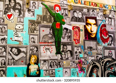 BARCELONA, SPAIN - OCTOBER 13: Gothic quarter, graffiti on a house wall on October 13, 2013 in Barcelona.