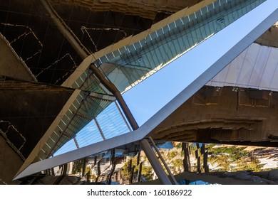 "BARCELONA, SPAIN - OCTOBER 13: modern architecture on October 13, 2013 in Barcelona. futuristic mirror ceiling of the largest flea market ""Fira de Bellcaire"" in Barcelona."