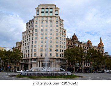 BARCELONA, SPAIN - OCTOBER 14: View of a fountain in Passeig de Gracia street in Barcelona, Spain on October 14, 2014. Barcelona is one of the most visited cities in the world.