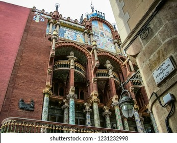 Barcelona, Spain - October 15, 2013: View of the facade of the Palace of Catalan Music(Palau de la Musica Catalana). Architectural Catalan Modern. UNESCO World Heritage Site