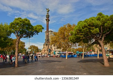 BARCELONA, SPAIN - October 15, 2018: The Columbus Monument, 60 m tall monument to Christopher Columbus at the lower end of La Rambla, Barcelona, Catalonia, Spain.