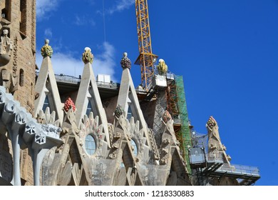 BARCELONA, SPAIN -October 16: Sagrada Familia on Oct 16, 2018: La Sagrada Familia - ongoing construction of the unfinished cathedral designed by architect Gaudi which began in 1882