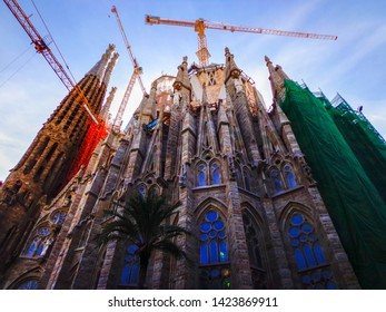 Barcelona, Spain - October 17, 2014: Barcelona's Sagrada Familia, designed by Spanish architect Antoni Gaudí, has been under construction since the early 1880s. Estimated date of completion is 2026.