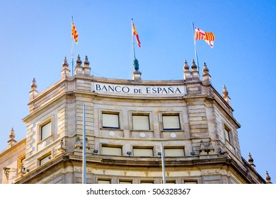 BARCELONA, SPAIN - OCTOBER 18: Bank of Spain office building in centre of Barcelona on October 18, 2014. Barcelona is the secord largest city of Spain.