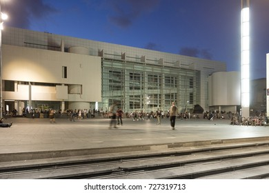 Barcelona, Spain - October 2, 2017: Visitors at Museum of Contemporary Arts in Barcelona. The Museum of Contemporary Arts is situated in the Placa dels Angels, in El Raval, Barcelona, Catalonia