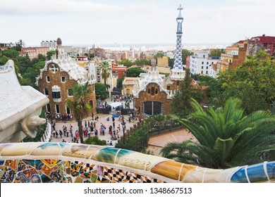 Barcelona, Spain - October 2, 2018 - Park Guell and the serpent bench in the evening - autumn day