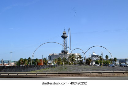 BARCELONA, SPAIN - OCTOBER 20: Olas de Acero (Steel Waves) sculpture in Barcelona, Spain on October 20, 2014. It was designed by Andreu Alfaro in 2002 and it is located at Barcelona seaport.