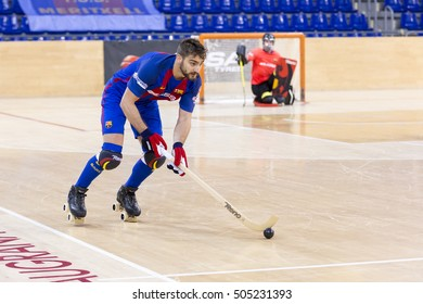 BARCELONA, SPAIN - OCTOBER, 2016: Some players in action at Spanish OK League match between FCB Lassa and CP Alcobendas, final score 7-3, on Oct 23, 2016, in Barcelona, Spain.