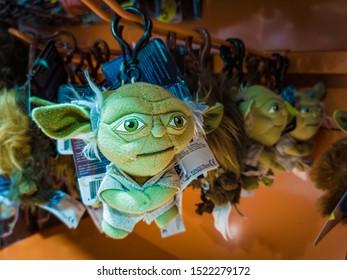 Barcelona, Spain. October 2019: 6: Star Wars Yoda figure toy on shelve in shopping mall. Illustrative editorial