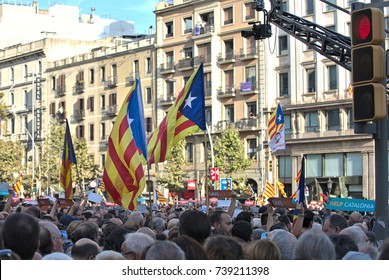 BARCELONA, SPAIN – OCTOBER 21, 2017: 500,000 Catalans protesting against Madrid's move to impose the direct rule over Catalonia