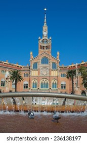 BARCELONA, SPAIN, OCTOBER 24, 2014:  View of the historical complex of former monastery and hospital Sant Pau Recinte Modernista.