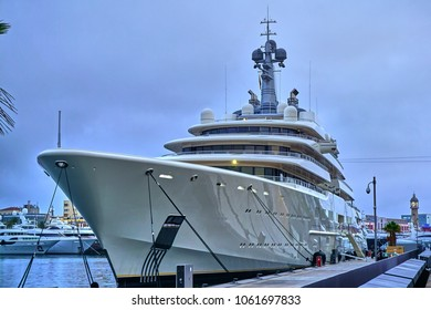 Barcelona, Spain - October 24th 2016: Roman Abramovich's Eclipse yacht lies moored in Barcelona.