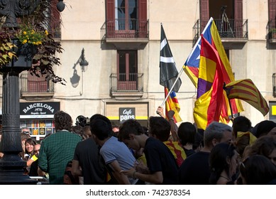 BARCELONA, SPAIN – OCTOBER 26, 2017: Catalans gathering in front of the Palau de la Generalitat de Catalunya waiting for an announcement from Carles Puigdemont