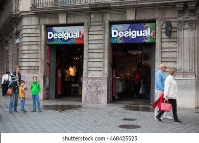 Barcelona, Spain - October 27, 2015: Desigual shop in Barcelona, Spain. Desigual is a manufacturer of clothing and footwear based in Barcelona.