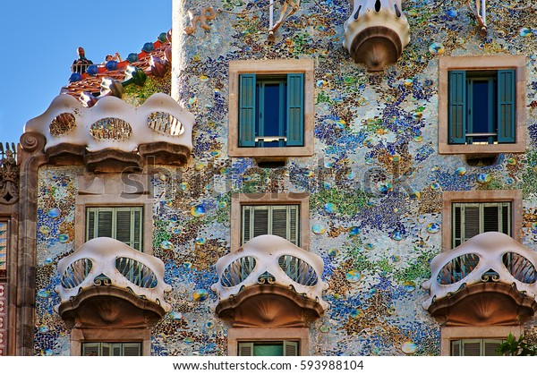 Barcelona, Spain - October 28, 2015: Casa Batllo facade details in Barcelona, Spain