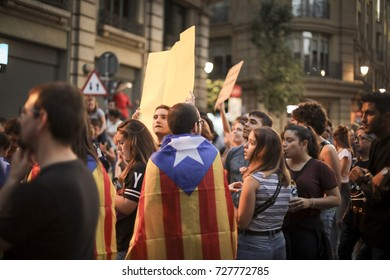 BARCELONA, SPAIN - OCTOBER 3  2017: General strike in  Barcelona against the violence of Spanish Police Cops during the Catalonian Referendum