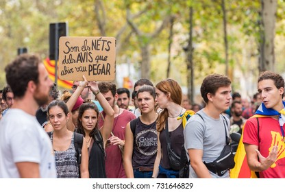 BARCELONA, SPAIN - OCTOBER 3, 2017: Demonstrators with a poster during the protests in Barcelona