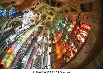 "BARCELONA SPAIN - OCTOBER 30: ""La Sagrada Familia"", the cathedral designed by Gaudi, which is being build since 19 March 1882 with the donations of people, on October 30, 2010 in Barcelona Spain"