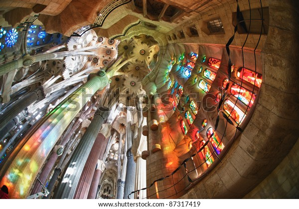 """BARCELONA SPAIN - OCTOBER 30: """"La Sagrada Familia"""", the cathedral designed by Gaudi, which is being build since 19 March 1882 with the donations of people, on October 30, 2010 in Barcelona Spain"""