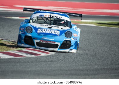 BARCELONA, SPAIN - OCTOBER 31, 2015: Kripton Motorsport Team at International GT Open that celebrates at Circuit de Barcelona Catalunya in Barcelona, Spain.