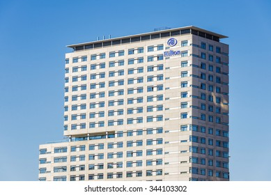 Barcelona, Spain - October 31, 2015: Hilton Hotel located in a new business area along the coast in the area of the Park Forum