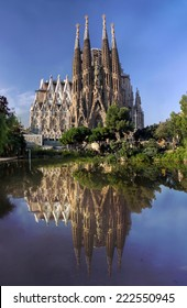 BARCELONA, SPAIN - OCTOBER 8: La Sagrada Familia - cathedral designed by Antonio Gaudi, which is being build since 1882 and not finished yet, October 8, 2014 in Barcelona, Spain.
