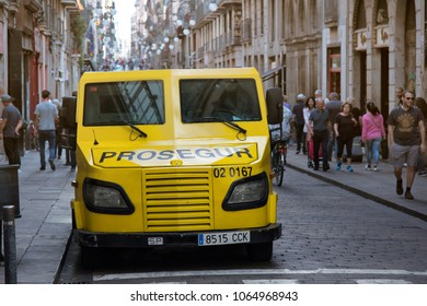 Barcelona, Spain - October 9, 2017: Armored car to transport money, cash-and-valuables-in-transit vehicle. Money protection. Millions of euros move quietly among crowd that before was impossible