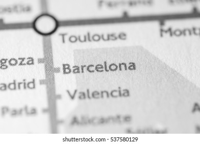 Barcelona, Spain on a geographical map.