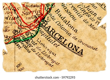 Barcelona, Spain on an old torn map from 1949, isolated. Part of the old map series.