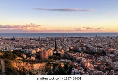 Barcelona - Spain: Panoramic View over Barcelona from Bunkers del Carmel. November 2015.