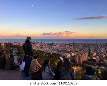 Barcelona - Spain: Panoramic View over Barcelona from Bunkers del Carmel. Sunset on an Autumn Day. November 2015.