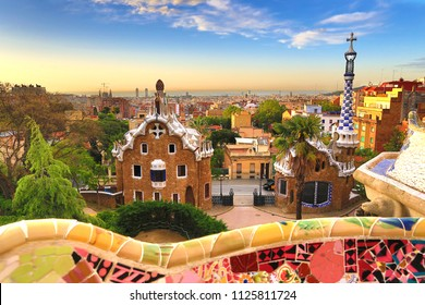 Barcelona, Spain: Park Guell. View of the city from Park Guell in Barcelona sunrise. Park Guell by architect Antoni Gaudi