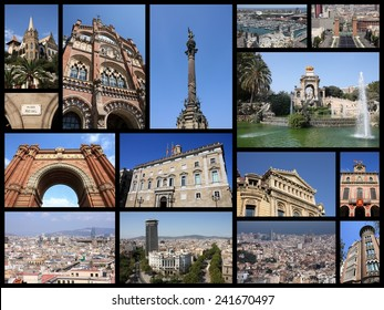 Barcelona, Spain photo collage. Collage includes major landmarks like Placa Espanya, Barceloneta and Parliament of Catalonia.
