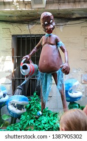 Barcelona, Spain - August 20, 2015: Plasterboard sculpture as part of the Gracia Festival (Festes de Gracia) where there is a contest for the best garnished street. Super Mario themed.