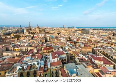 Barcelona, Spain as seen from Santa Maria del Pi church belltower.