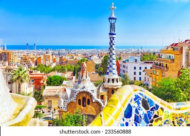 BARCELONA, SPAIN - SEPT 02,2014 :Amazing Park Guel in Barcelona.  Park Guell (1914) is the famous architectural town art designed by Antoni Gaudi. Event September 02, 2014 in Barcelona, Spain