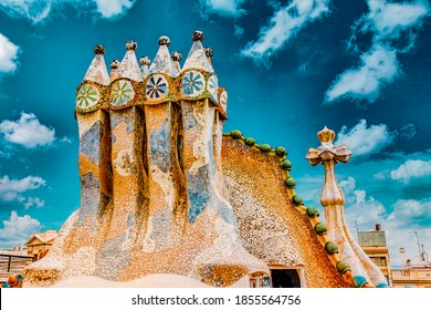 BARCELONA, SPAIN - SEPT  04, 2014: Roof, housetop  Gaudi's  creation-house Casa Batlo. The building that is now Casa Batllo was built in 1877 by Antoni Gaudi