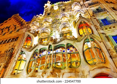 BARCELONA, SPAIN - SEPT  04, 2014: Night outdoor view  Gaudi's  creation-house Casa Batlo. The building that is now Casa Batllo was built in 1877 by Antoni Gaudi.