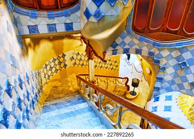 BARCELONA, SPAIN - SEPT  04, 2014: Interior and inner chambers Gaudi's  creation house Casa Batlo.  Casa Batllo was built in 1877 by Antoni Gaudi, and now commissioned by Lluis Sala Sanchez.