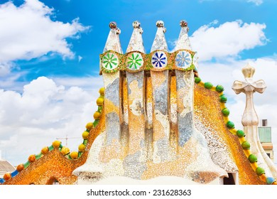 BARCELONA, SPAIN - SEPT  04, 2014: Roof, housetop  Gaudi's  creation-house Casa Batlo.  Casa Batllo was built in 1877 by Antoni Gaudi. September 04, 2014 in Barcelona, Spain.