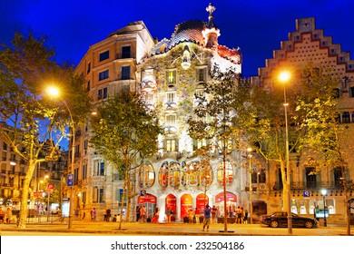 BARCELONA, SPAIN - SEPT  04, 2014: Night outdoor view  Gaudi's  creation-house Casa Batlo.Casa Batllo was built in 1877 by Antoni Gaudi.  September 04, 2014 in Barcelona, Spain.