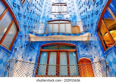 BARCELONA, SPAIN - SEPT  04, 2014: Interior and inner chambers Gaudi's  creation house Casa Batlo. Casa Batllo was built in 1877 by Antoni Gaudi. September 04, 2014 in Barcelona, Spain.